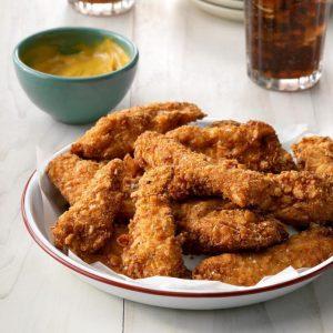 Tiras de frango frito