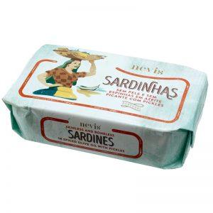 Sardinhas Sem Pele e Sem Espinhas em Azeite Picante com Pickles Nevis 120g