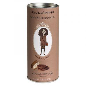"""Biscoitos com Cacau """"Cocoa Chips"""" em Tubo Paul & Pippa 130g"""